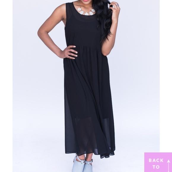 d18bd51dfe Agnes Dora Godiva Dress Solid Black Babydoll Maxi
